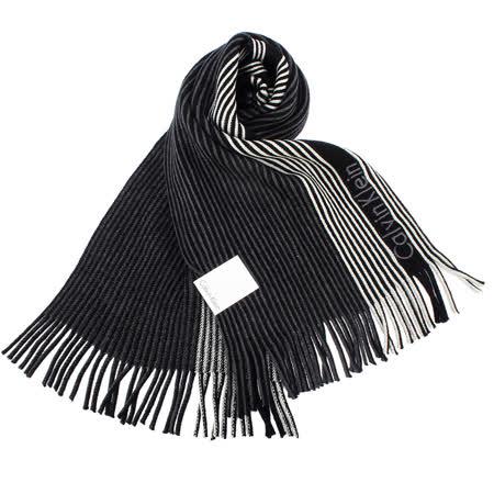 Calvin Klein新款拼色條紋流蘇圍巾(黑色)