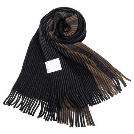 Calvin Klein新款拼色條紋流蘇圍巾(深藍色)