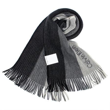 Calvin Klein新款刺繡logo拼色針織圍巾(黑色)