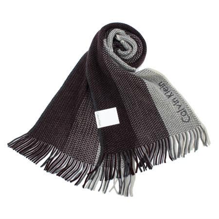Calvin Klein新款刺繡logo拼色針織圍巾(酒紅色)