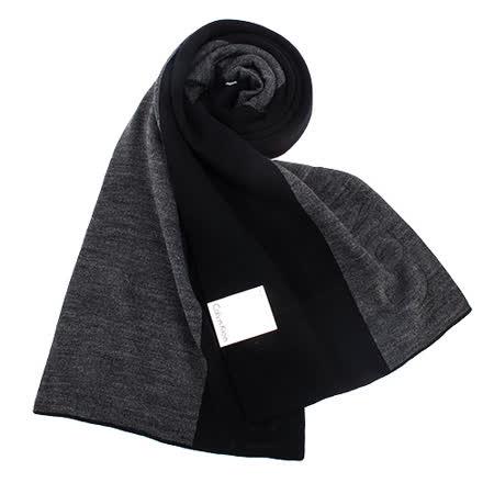 Calvin Klein新款拼色浮雕LOGO圍巾(黑色)