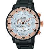 ALBA ACTIVE 賽車競速時尚計時腕錶-銀x鍍黑/47mm VD53-X176U(AT3709X1)