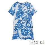 JESSICA-復古印花紋洋裝(藍)