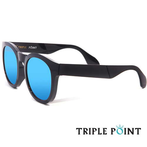 TRIPLE POINT 韓國 韓星時尚潮流太陽眼鏡 E系列 - E BK1(黑 + 水銀藍鏡面)