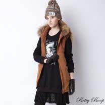 【Betty Boop貝蒂】毛茸茸鋪棉針織長版連帽背心(共二色)