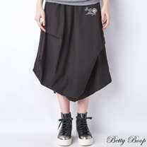 【Betty Boop貝蒂】抓皺側開衩口袋棉麻長裙(共二色)