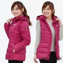 【遊遍天下】女款JIS90%羽絨防風防潑水背心外套二穿式羽絨外套G0326玫紅