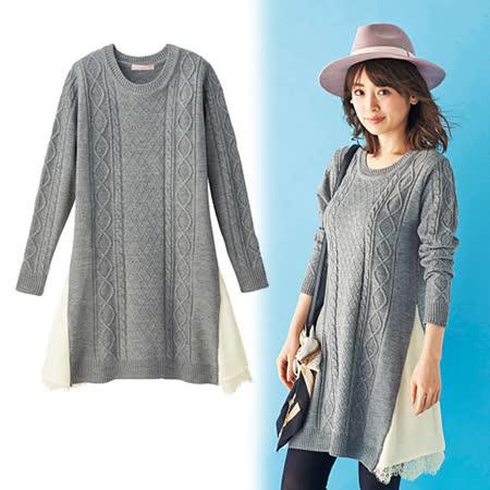日本cecile 現貨-喬其紗蕾絲拼接針織洋裝(灰/S)