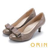 ORIN 典雅時尚女人 菱格縫線異材質真皮高跟鞋-可可