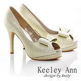 Keeley Ann新娘晚宴~細緻亮蔥蝴蝶結魚口高跟鞋(金色535288237)