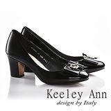 Keeley Ann鑲讚蝴蝶結OL全真皮圓頭粗跟高跟包鞋(黑色625932310)-Ann系列