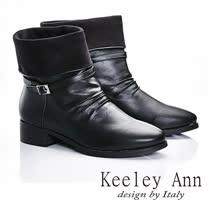 Keeley Ann  都會美感~細寬帶金屬釦簡約反摺短靴(黑色587158610)