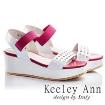 Keeley Ann全真皮撞色洞洞厚底一字涼鞋(桃紅色622502153)-Ann系列