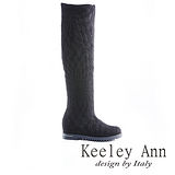 Keeley Ann 優雅品味 ~ 質感蕾絲布內增高及膝長靴(黑)【ANGEL系列469636210】
