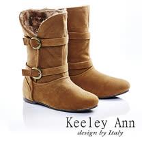 Keeley Ann 復古俏皮 ~ 2way內增高麂皮雪靴(棕)【487138225】