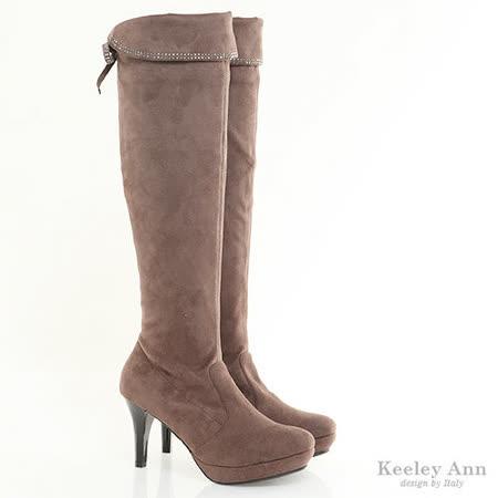 Keeley Ann 纖瘦美型 ~ 燙鑽柔軟絨布高跟膝上靴(淺古咖)【389078280】