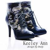 Keeley Ann 男孩風 ~ 全真皮迷彩綁帶時髦高跟軍靴(藍)【ANGEL系列467931260】