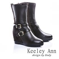 Keeley Ann個性百搭-馬毛拼接真皮雙排扣內增靴(咖啡色487043270)