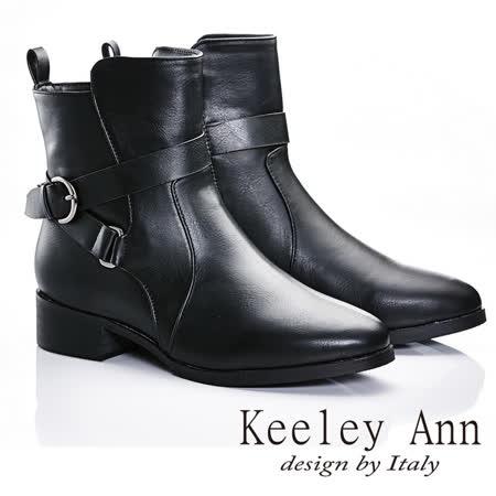 Keeley Ann  俐落極簡~歐美個性款環扣尖頭短靴(黑色587158510)