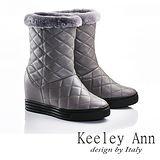 Keeley Ann 獨特暖冬~真皮紋格造型刷毛滾邊內增高筒靴(灰色587158980)