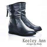 Keeley Ann  簡單品味~極簡素面後拉鍊全真皮內增高機車靴(藍色587158860)
