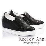 Keeley Ann全真皮雕花水晶內增高休閒鞋(黑色686823110)