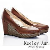 Keeley Ann 質感素面~全真皮好感簡單圓頭厚底楔型鞋(咖啡色585273370)