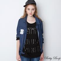 【Betty Boop貝蒂】水鑽亮膠BETTY圓領彈性上衣(共二色)