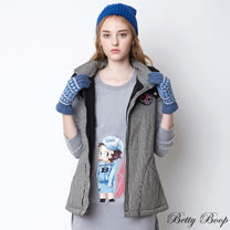 【Betty Boop貝蒂】條紋針織拼接牛仔鋪棉連帽背心(共二色)