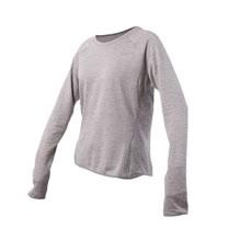 (女) NIKE 長袖針織衫-T恤 慢跑 路跑 長T 灰銀