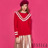 JESSICA RED-學院知性荷葉條紋羊毛針織上衣(紅)