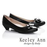 Keeley Ann簡約甜美蝴蝶結OL全真皮低跟鞋(黑色685183310)