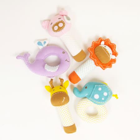 【MARCUS&MARCUS】動物樂園有機棉手搖鈴安撫玩偶(多款可愛任選)