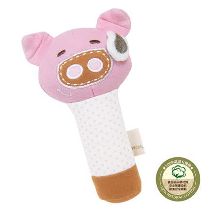 【MARCUS&MARCUS】動物樂園有機棉手搖鈴安撫玩偶-粉紅豬