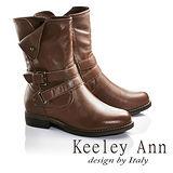 Keeley Ann個性玩酷-反摺金屬扣雙皮帶真皮低跟中筒靴(棕色687158125)
