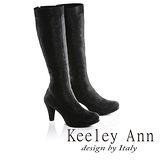Keeley Ann完美顯瘦-素面金蔥質感彈力布高跟長靴(黑色689373110)