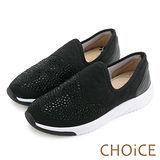 CHOiCE 中性休閒 水鑽布面輕量軟Q休閒鞋-黑色