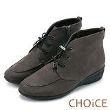 CHOiCE 率性舒適必備款 免綁帶荔枝紋牛皮短靴-灰色