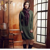 玄太-柔感修身針織洋裝/上衣(綠)