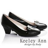 Keeley Ann輕孰名媛-皮帶飾釦OL全真皮中跟鞋(黑色685363210)