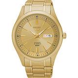 SEIKO 精工5號盾牌日曆機械腕錶-金x44mm 7S26-04M0G(SNKN96J1)