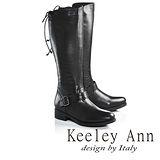 Keeley Ann都會步調真皮後綁帶設計款粗跟長靴(黑色689138110)