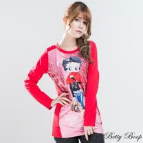 【Betty Boop貝蒂】純棉磨毛印花拼接長版上衣(紅色)