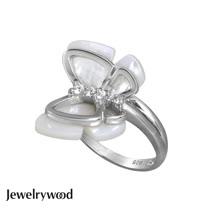 Jewelrywood 純銀蝴蝶飛舞珍珠母貝戒指