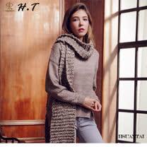 玄太-圓領多色織紋造型下擺毛衣(褐)