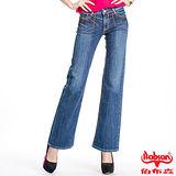 BOBSON 女款紅色繡線寬管喇叭褲(9073-58)