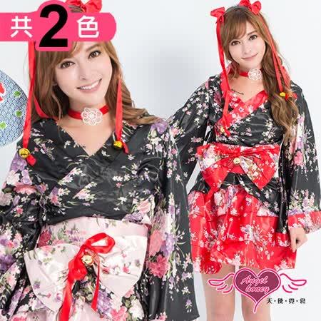 【天使霓裳】角色扮演 夏夜祭典 日系改良式和服表演服(黑紅/黑粉F)