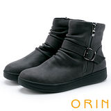 ORIN 中性時尚 率性皮帶釦環皺褶厚底短靴-灰色