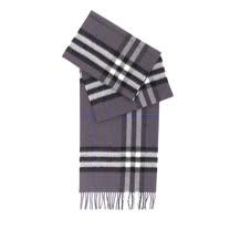 【BURBERRY】基本款經典米格紋喀什米爾圍巾(黑色)