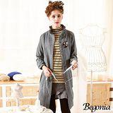 【Begonia】荷葉領線織點點大口袋剪裁洋裝(共二色)